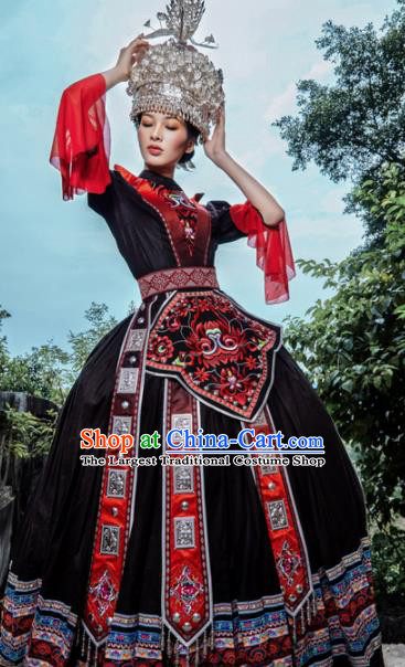 Traditional Chinese Miao Nationality Brown Dress Guizhou Ethnic Folk Dance Stage Show Costume for Women