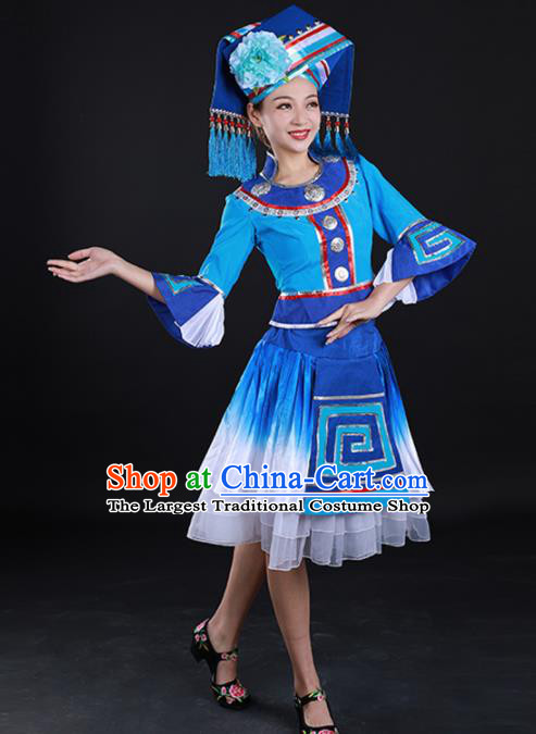 Traditional Chinese Zhuang Nationality Liu Sanjie Blue Dress Guangxi Ethnic Folk Dance Stage Show Costume for Women