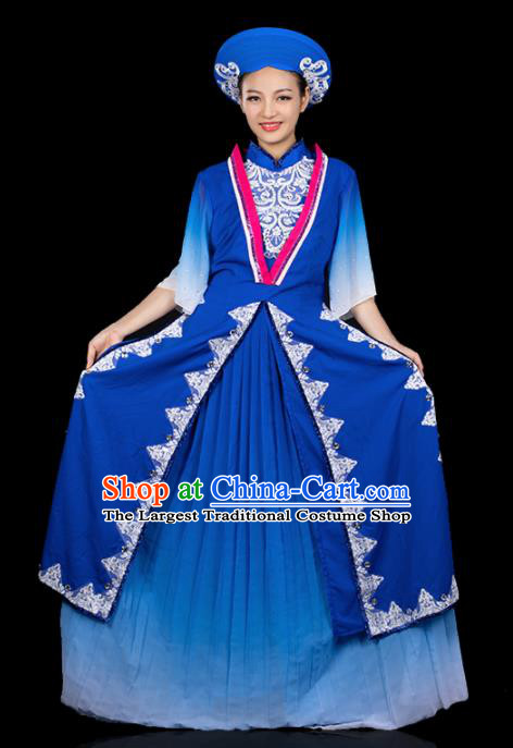Traditional Chinese Jing Nationality Ha Festival Deep Blue Dress Ethnic Folk Dance Stage Show Costume for Women