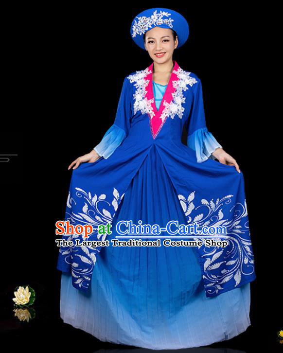Traditional Chinese Jing Nationality Royalblue Dress Ethnic Ha Festival Folk Dance Stage Show Costume for Women
