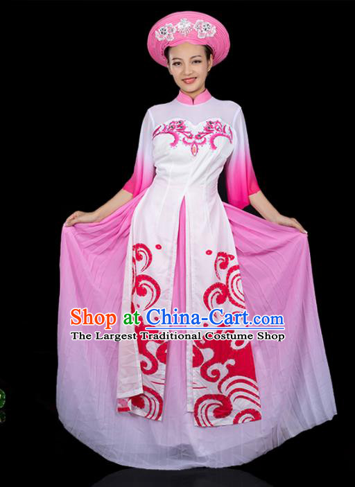 Traditional Chinese Jing Nationality Printing Pink Dress Ethnic Ha Festival Folk Dance Stage Show Costume for Women