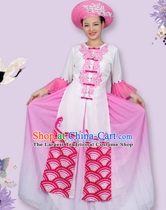 Traditional Chinese Jing Nationality Printing Waves Pink Dress Ethnic Ha Festival Folk Dance Stage Show Costume for Women