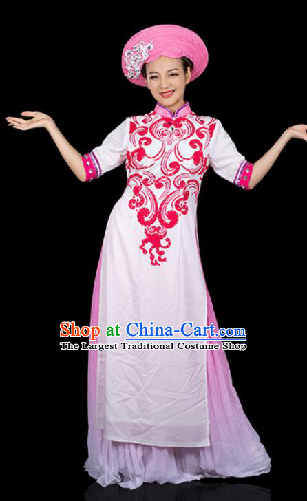 Traditional Chinese Jing Nationality Qipao Dress Ethnic Ha Festival Folk Dance Stage Show Costume for Women
