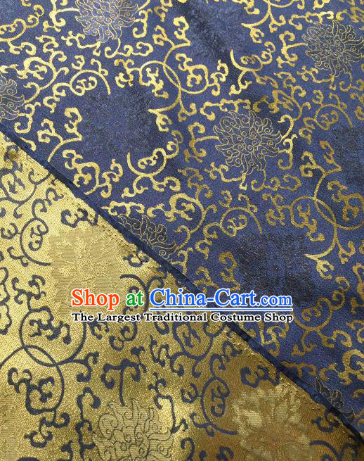 Asian Chinese Traditional Chrysanthemum Pattern Design Navy Gambiered Guangdong Gauze Fabric Silk Material