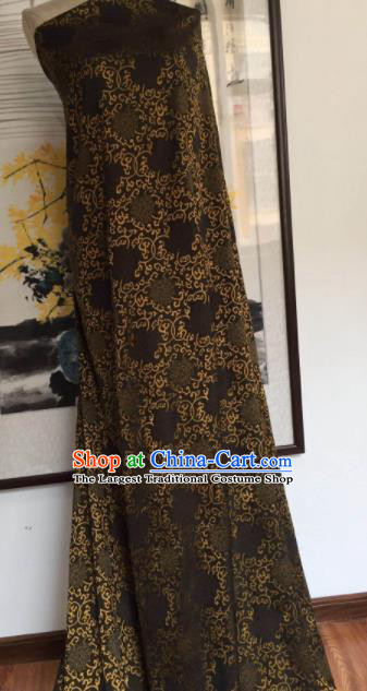 Asian Chinese Traditional Chrysanthemum Pattern Design Brown Gambiered Guangdong Gauze Fabric Silk Material