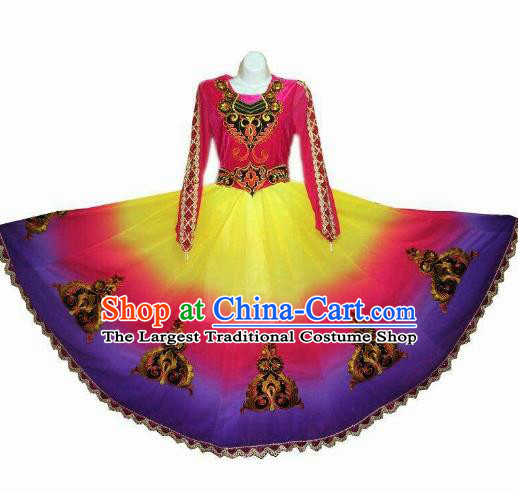 Traditional Chinese Xinjiang Uyghur Nationality Gradient Purple Dress Ethnic Folk Dance Stage Show Costume for Women