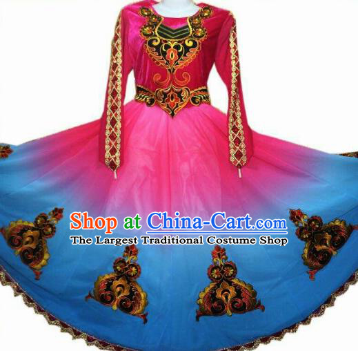 Traditional Chinese Xinjiang Uyghur Nationality Gradient Blue Dress Ethnic Folk Dance Stage Show Costume for Women
