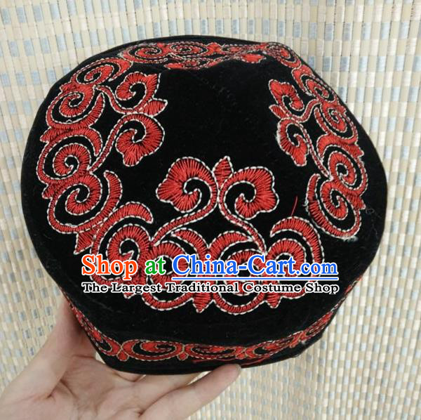 Chinese Traditional Kazak Minority Embroidered Black Hat Ethnic Xinjiang Stage Show Headwear for Men