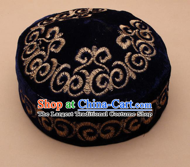 Chinese Traditional Kazak Minority Embroidered Navy Velvet Hat Ethnic Xinjiang Stage Show Headwear for Men