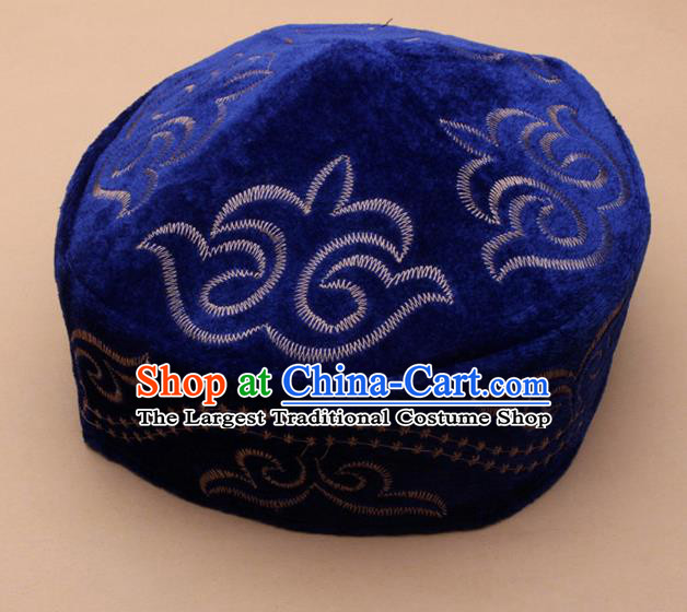 Chinese Traditional Kazak Minority Embroidered Royalblue Velvet Hat Ethnic Xinjiang Stage Show Headwear for Men