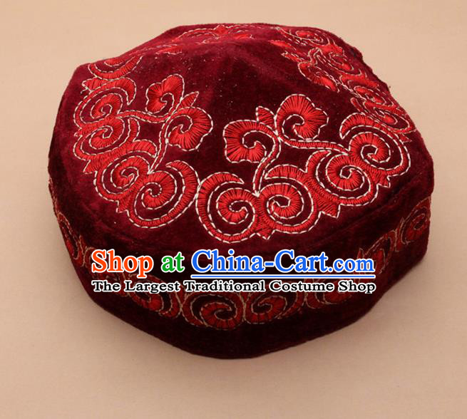 Chinese Traditional Kazak Minority Embroidered Red Velvet Hat Ethnic Xinjiang Stage Show Headwear for Men
