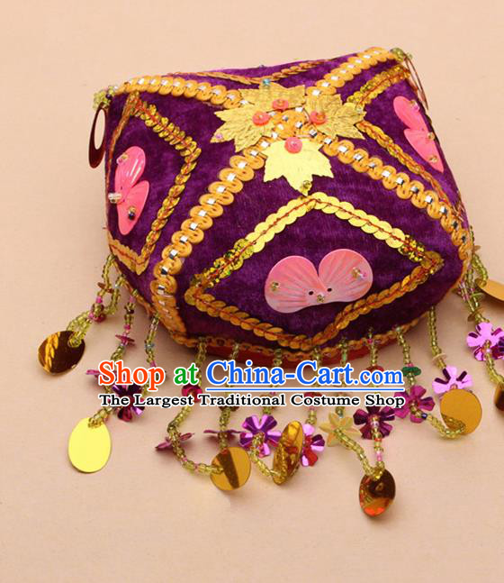 Chinese Traditional Uyghur Minority Embroidered Paillette Purple Hat Ethnic Nationality Folk Dance Stage Show Headwear for Women