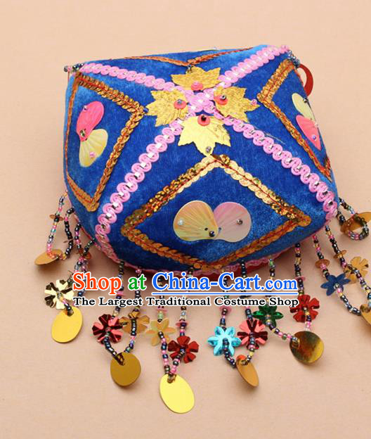 Chinese Traditional Uyghur Minority Handmade Paillette Blue Hat Ethnic Nationality Folk Dance Stage Show Headwear for Women