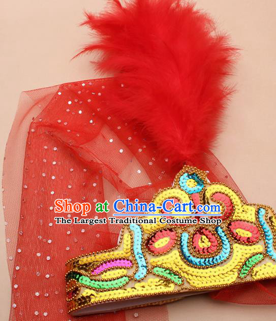 Handmade Chinese Traditional Uyghur Minority Red Feather Hat Ethnic Nationality Folk Dance Headwear for Women