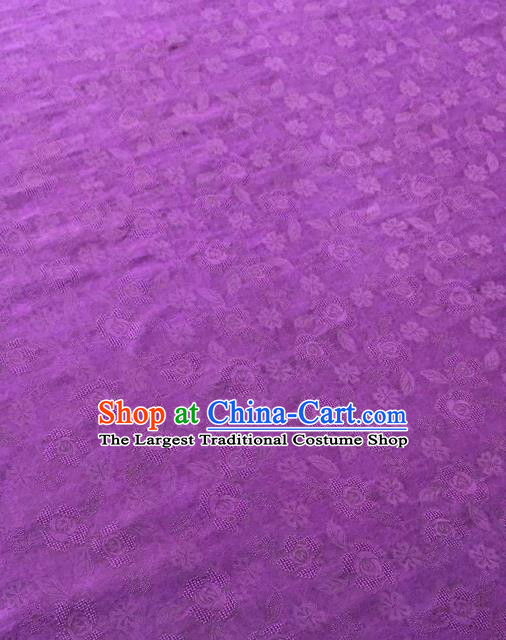 Asian Chinese Traditional Cherry Blossom Pattern Design Purple Gambiered Guangdong Gauze Fabric Silk Material