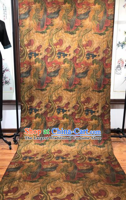 Asian Chinese Traditional Phoenix Pattern Design Purplish Red Gambiered Guangdong Gauze Fabric Silk Material