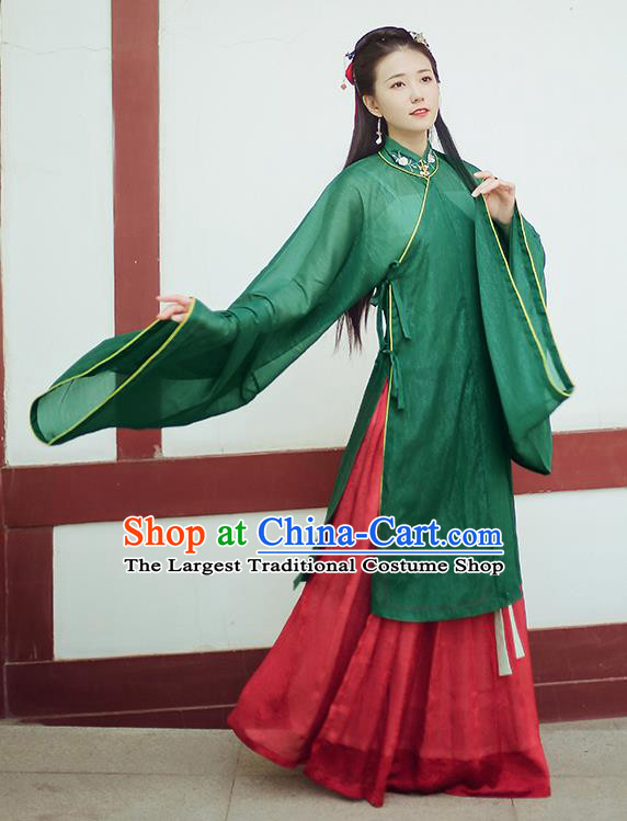 Chinese Ancient Drama Princess Green Blouse and Skirt Traditional Ming Dynasty Nobility Lady Costumes for Women