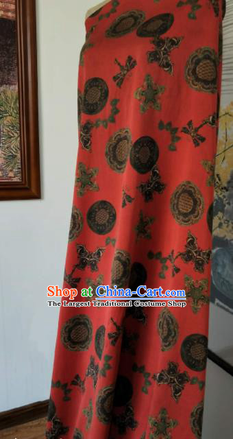 Asian Chinese Traditional Pattern Design Red Gambiered Guangdong Gauze Fabric Silk Material