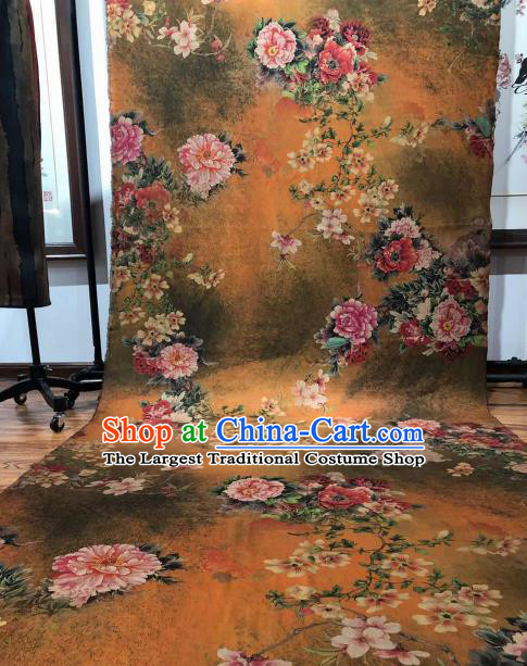 Asian Chinese Traditional Peony Pattern Design Ginger Gambiered Guangdong Gauze Fabric Silk Material