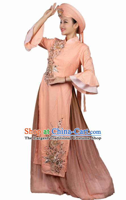 Traditional Chinese Jing Nationality Apricot Qipao Dress Ethnic Ha Festival Folk Dance Stage Show Costume for Women