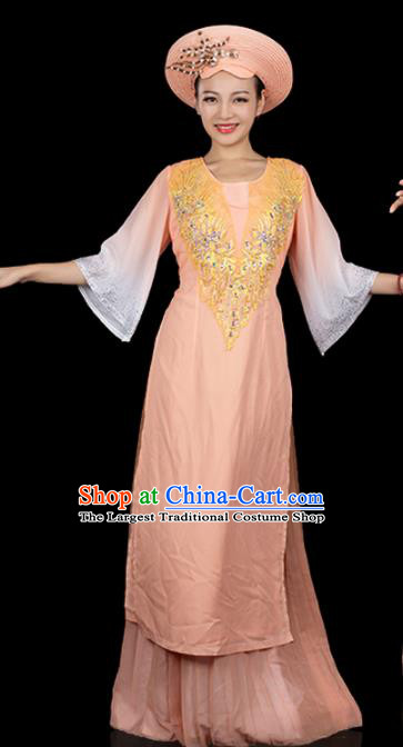 Traditional Chinese Jing Nationality Apricot Dress Ethnic Ha Festival Folk Dance Stage Show Costume for Women