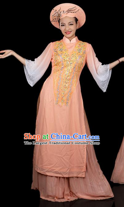 Traditional Chinese Jing Nationality Folk Dance Apricot Dress Ethnic Ha Festival Stage Show Costume for Women