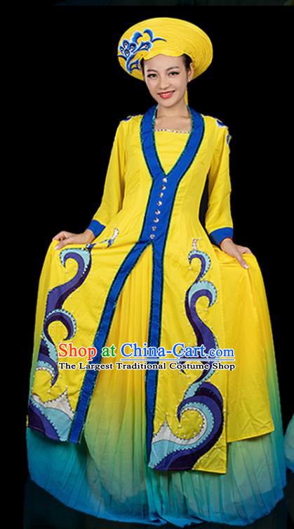 Traditional Chinese Jing Nationality Yellow Dress Ethnic Ha Festival Folk Dance Costume for Women
