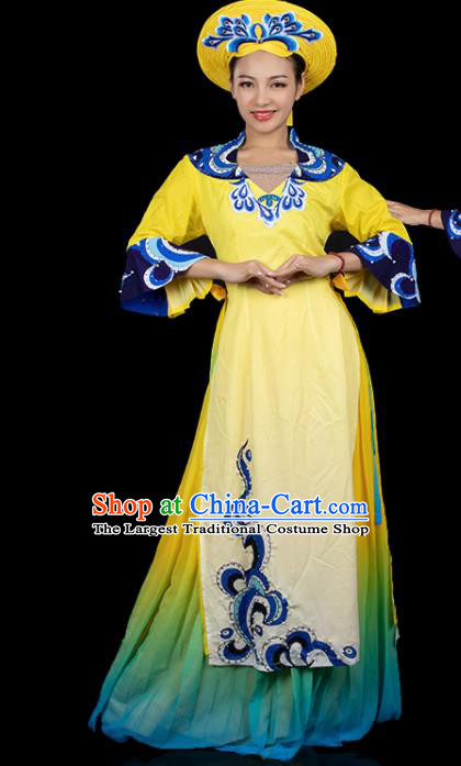 Traditional Chinese Jing Nationality Printing Yellow Dress Ethnic Ha Festival Folk Dance Costume for Women