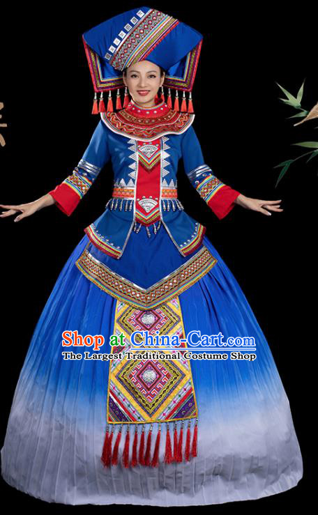 Traditional Chinese Zhuang Nationality Stage Show Blue Dress Ethnic Festival Folk Dance Costume for Women