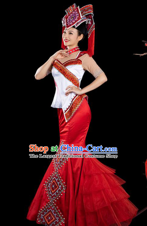 Traditional Chinese Zhuang Nationality Liu Sanjie Stage Show Red Dress Ethnic Festival Folk Dance Costume for Women