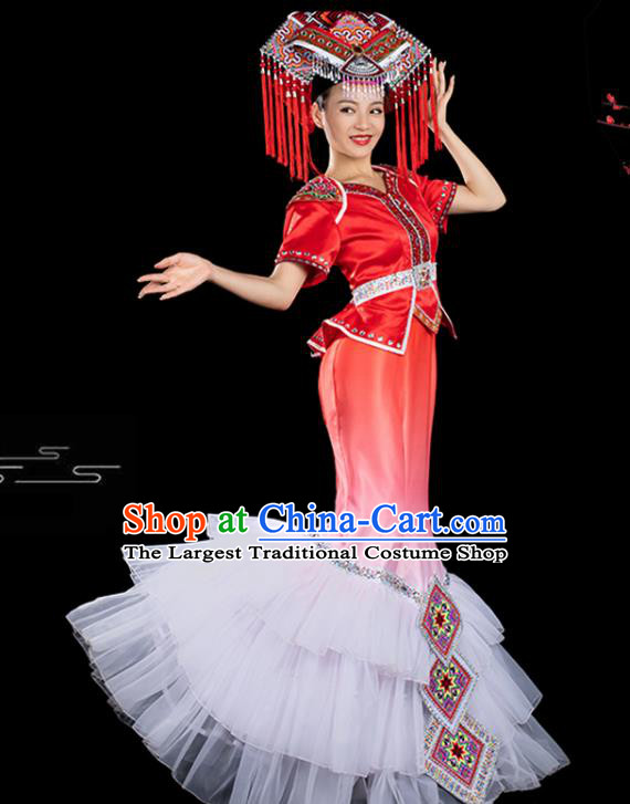 Traditional Chinese Zhuang Nationality Folk Dance Liu Sanjie Red Veil Dress Ethnic Stage Show Costume for Women