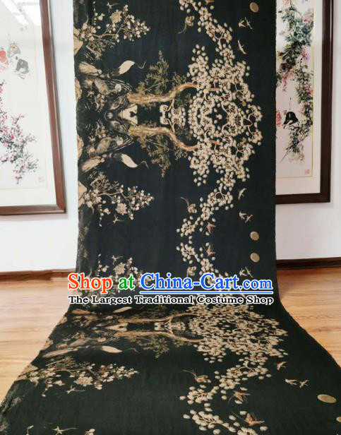 Asian Chinese Traditional Pine Crane Pattern Design Black Gambiered Guangdong Gauze Fabric Silk Material