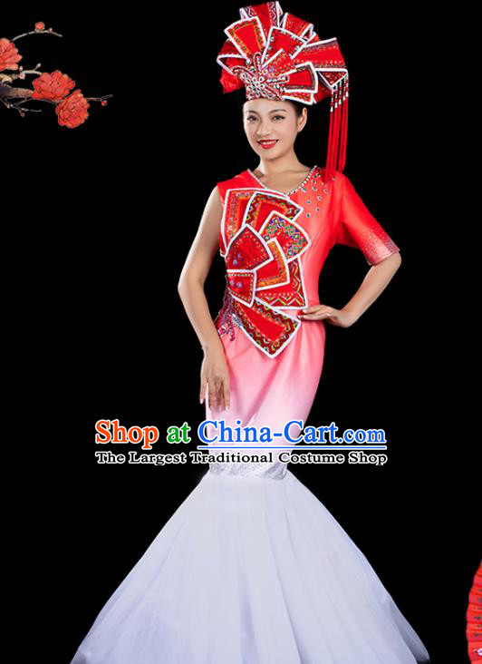 Traditional Chinese Zhuang Nationality Liu Sanjie Red Veil Dress Ethnic Folk Dance Stage Show Costume for Women