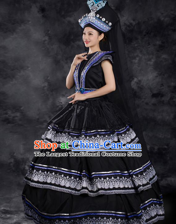 Chinese Traditional Zhuang Nationality Liu Sanjie Black Dress Ethnic Folk Dance Stage Show Costume for Women