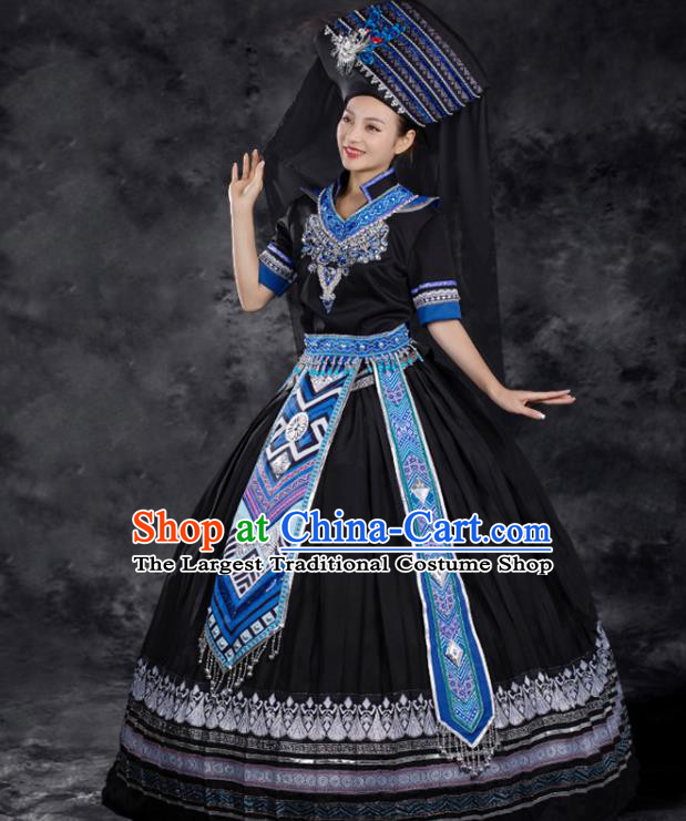 Chinese Traditional Zhuang Nationality Black Dress Ethnic Folk Dance Stage Show Liu Sanjie Costume for Women