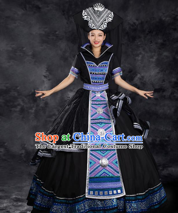 Chinese Traditional Zhuang Nationality Black Satin Dress Ethnic Folk Dance Stage Show Liu Sanjie Costume for Women