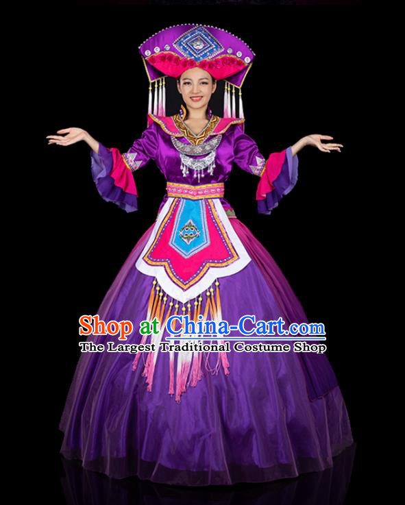 Chinese Traditional Zhuang Nationality Deep Purple Dress Ethnic Folk Dance Stage Show Liu Sanjie Costume for Women