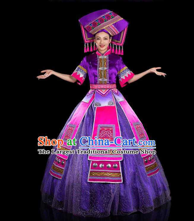 Chinese Traditional Zhuang Nationality Big Swing Purple Dress Ethnic Folk Dance Stage Show Liu Sanjie Costume for Women
