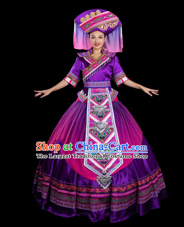 Chinese Traditional Zhuang Nationality Purple Bubble Dress Ethnic Folk Dance Stage Show Liu Sanjie Costume for Women
