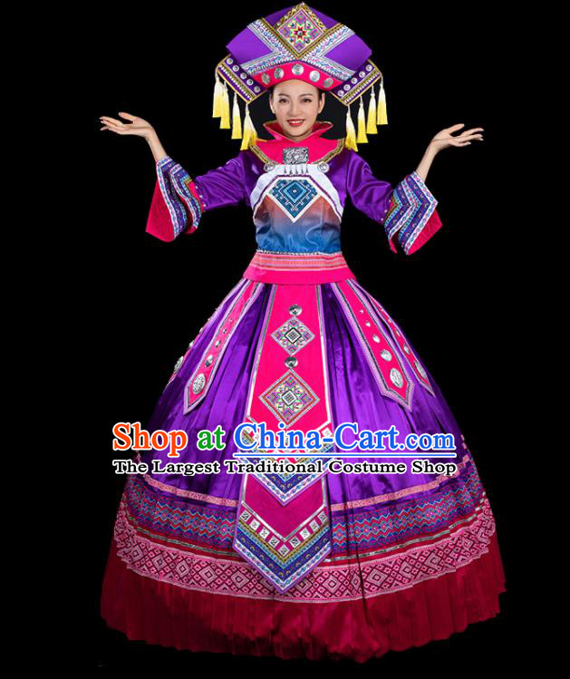 Chinese Traditional Zhuang Nationality Mandarin Sleeve Purple Dress Ethnic Folk Dance Stage Show Liu Sanjie Costume for Women