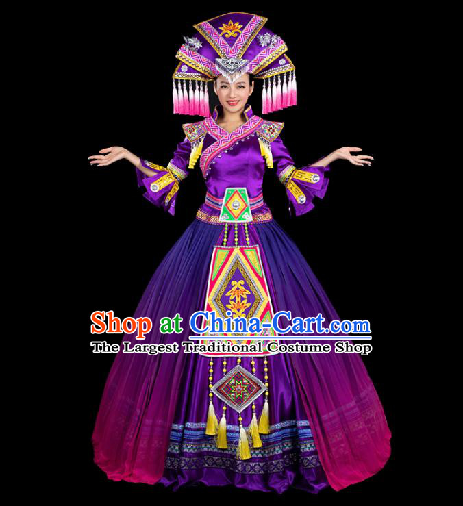 Chinese Traditional Zhuang Nationality Mandarin Sleeve Deep Purple Dress Ethnic Folk Dance Stage Show Liu Sanjie Costume for Women