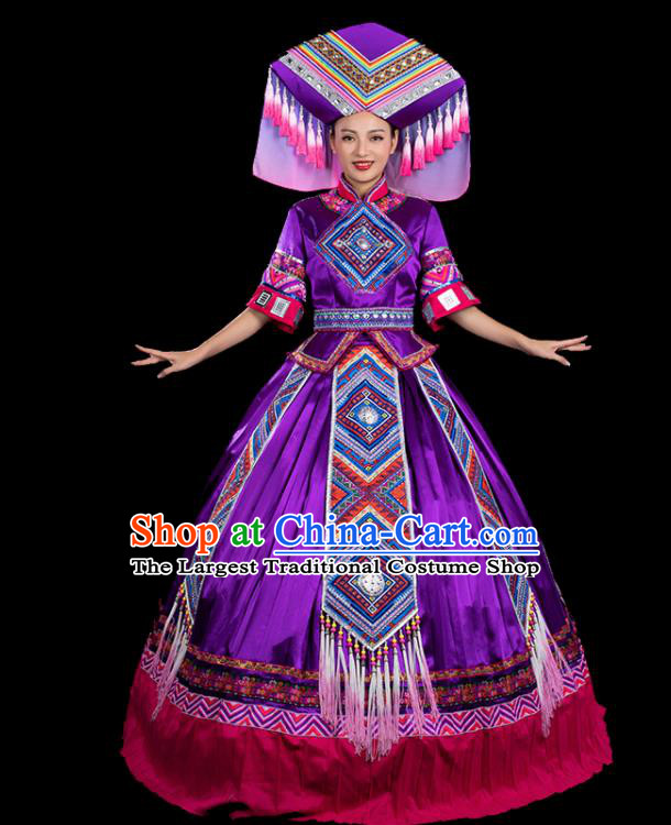 Chinese Traditional Zhuang Nationality Mid Sleeve Deep Purple Dress Ethnic Folk Dance Stage Show Liu Sanjie Costume for Women