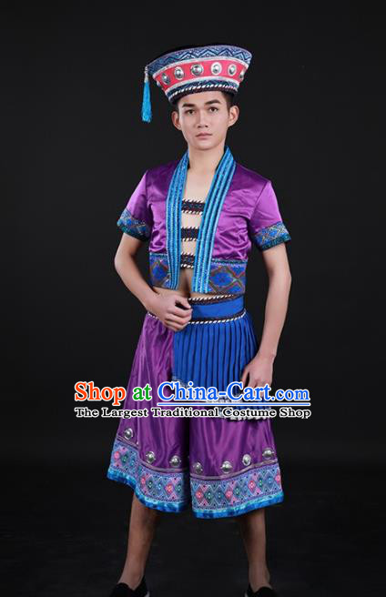Chinese Traditional Yao Nationality Purple Outfits Ethnic Minority Folk Dance Stage Show Costume for Men
