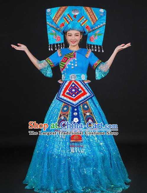 Chinese Traditional Zhuang Nationality Light Blue Dress Ethnic Folk Dance Stage Show Costume for Women