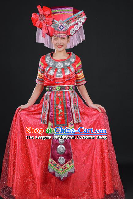 Chinese Traditional Zhuang Nationality Red Dress Ethnic Folk Dance Stage Show Costume for Women