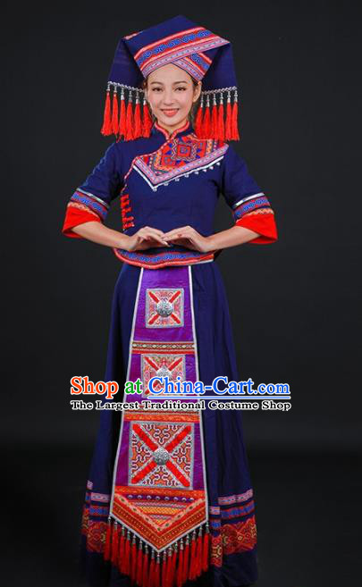 Chinese Traditional Zhuang Nationality Navy Dress Ethnic Folk Dance Stage Show Costume for Women