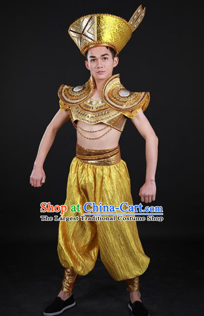 Chinese Traditional Yao Nationality Golden Outfits Ethnic Minority Folk Dance Stage Show Costume for Men