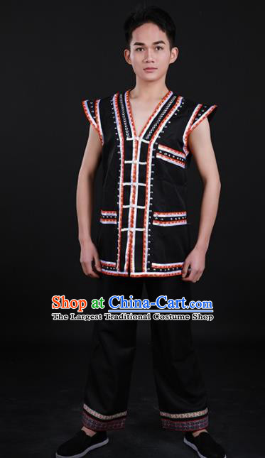 Chinese Traditional Lahu Nationality Festival Black Outfits Ethnic Minority Folk Dance Stage Show Costume for Men