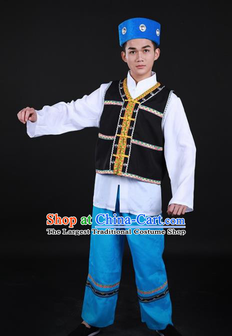 Chinese Traditional Bonan Nationality Festival Outfits Ethnic Minority Folk Dance Stage Show Costume for Men