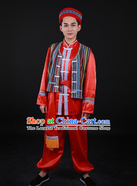 Chinese Traditional Nu Nationality Festival Red Outfits Ethnic Minority Folk Dance Stage Show Costume for Men